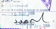Into Singapore from Bali, through Malaysia for a stay in Thailand. Fun passport stamps.A Blue Moon in Chinatrue story about a young woman travelling through Asia alone in 1988.