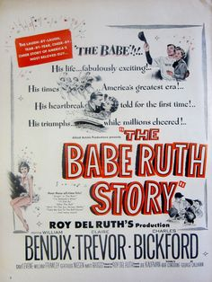1948 Vintage Movie Print The Babe Ruth Story William Bendix Original Magazine Print Ad Baseball Wall Art Sports Movie Decor Paper Ephemera by RelicEclectic on Etsy