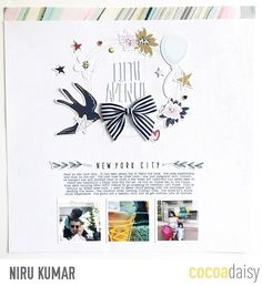 Fifth Avenue, by Niru Kumar using the Letterpress collection from www.cocoadaisy.com #cocoadaisy #kitclub #scrapbooking #layout #stitching #diecuts #wreath #journaling #typing #ribbon #bows