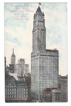Vintage Postcard New York City NY Woolworth Building circa 1910