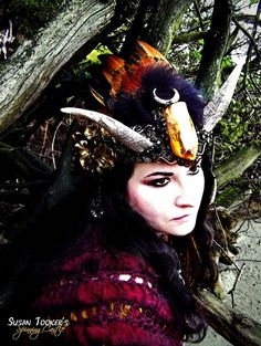 RESERVED Horn Crown Feather Headdress Faerie di SpinningCastle