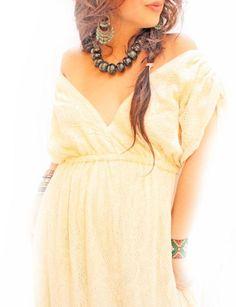 Mexican maxi dress deep V vintage lace crochet