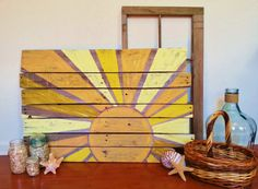 Custom Sign Pallet Wood Sign Sun Rustic Sign Shabby Chic Sign Vintage Handmade Hand-painted Sign