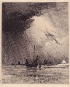 """Gaston de Latenay, etching// """"Who is this that even the winds and waves obey Him?!"""""""