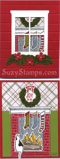 Stampin' Up! Cards - 2015-11 Class - Festive Fireplace Stamp Set, Festive Fireside Framelits Dies, Hearth & Home Tinlits Dies, Brick Wall Embossing Folder, and Merry Moments Designer Series Paper Stack