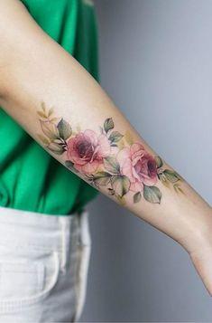 Pretty Tattoos, Cute Tattoos, Beautiful Tattoos, Hand Tattoos, Body Art Tattoos, Tatoos, Sleeve Tattoos, Watercolor Tattoo Shoulder, Watercolor Rose Tattoos
