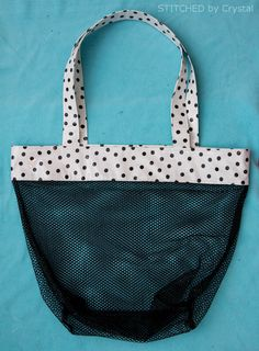 Learn how to make this cute mesh bag for all of your beach and pool toys!