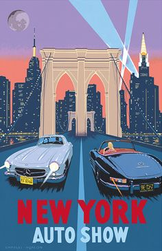 PEL409: 'Mercedes 300 SL Gullwing and Roadster – New York Auto Show' by Charles Avalon - Vintage car posters - Art Deco - Pullman Editions - Mercedes