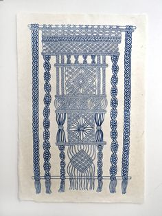 Für diesen Druck habe ich ein original handgezeichnete Macrame-Design, das wurde nach Linoleum überführt und über einen Zeitraum von zwei Monaten
