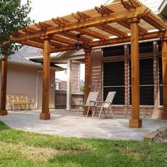 The pergola kits are the easiest and quickest way to build a garden pergola. There are lots of do it yourself pergola kits available to you so that anyone could easily put them together to construct a new structure at their backyard. Pergola Kits, Wood Pergola Design, Dream Patio, Pergola Designs, Garden In The Woods, Pergola Plans, Wooden Garden