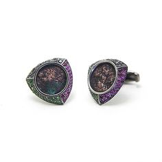 Afghanistan Cufflinks by Houndsditch, in black gold plated silver, black diamonds, rubies, tsavoorites and Kushano-Sasanian coins (245-270 AD) #cufflinks #houndsditch #afghanistan #silverjewellery #contemporaryjewellery  #kushano-sasaniancoins #gemstones
