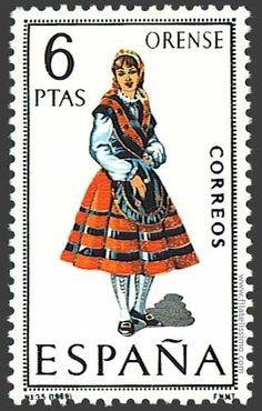 Trajes regionales españoles en sellos  ORENSE
