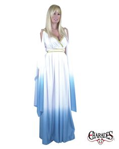 velvet low cut toga | Adult White and Blue Greek Goddess Costume Halloween Womens Costumes ...