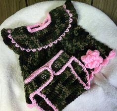 Now Born Baby Camo Dresses | Camo Newborn Dress with Matching Diaper by CrochetingTreasures