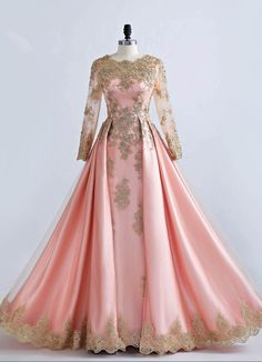 Long Sleeve Gold Lace Beaded Muslim Evening Dresses Pink Formal Prom Party Gowns for sale online Long Sleeve Formal Gowns, Long Sleeve Lace Gown, Long Sleeve Evening Gowns, Prom Dresses Long With Sleeves, Top Wedding Dresses, Formal Dresses For Weddings, A Line Prom Dresses, Dress Formal, Party Dresses