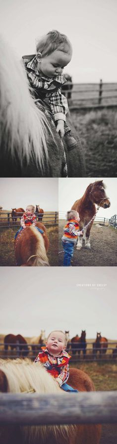 one year old with his pony, north dakota photographer, western baby photos, little cowboy