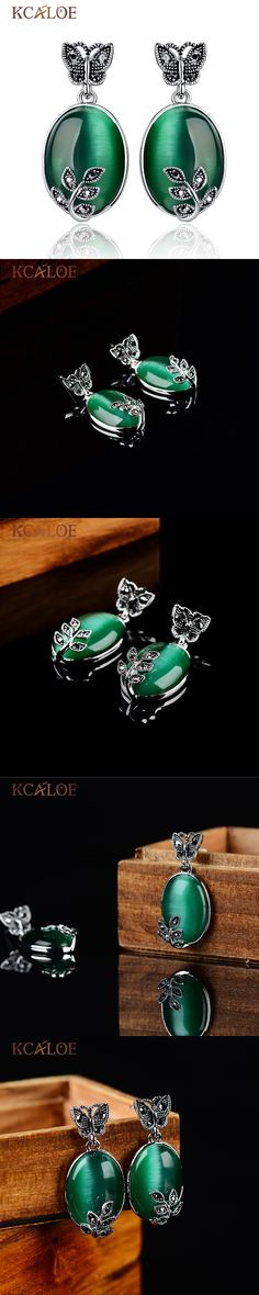 Big Green Jade Agate Earrings Natural Stone Vintage Retro Black Rhinestone Zircon Butterfly Leaf Piedras Verdes Dangle Earrings