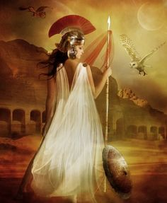 Athena: Goddess of wisdom, war, the arts, industry, justice and skill.