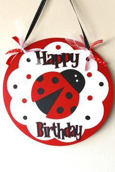 Ladybug Birthday Sign