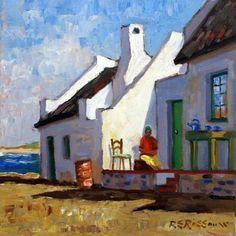 Painting by Roelof Rossouw Landscape Art, Landscape Paintings, South African Art, Cottage Art, Irish Art, Naive Art, Gouache, Art Techniques, Art And Architecture
