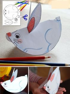 Patterns for paper animals Easter Activities, Craft Activities, Preschool Crafts, Preschool Kindergarten, Bunny Crafts, Easter Crafts, Diy For Kids, Crafts For Kids, Paper Animals