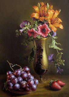 """7 das Artes: """"Still life"""" flores e frutas - pinturas de Maria Ilieva."""