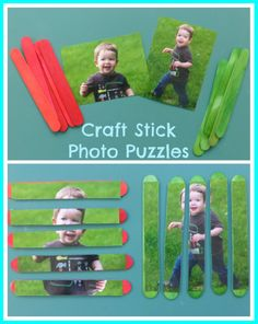 """Craft Stick Photo Puzzles (something similar on my """"Learning center"""" board: for kids to spell their name)"""