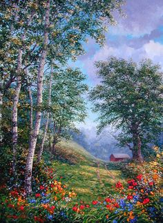 This piece takes the viewer out of the blooming forest and into a green meadow where an old red barn sits.. Original Painting
