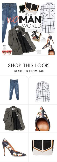 """""""It's a WOMAN'S world"""" by purpleagony ❤ liked on Polyvore featuring Luella, Givenchy, Martha Stewart, Thierry Lasry, boyfriendjeans, pixiemarket, distressedjeans and workblazer"""