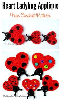 Heart Ladybug Applique Free Crochet Pattern – Knitting patterns, knitting designs, knitting for beginners. Love Crochet, Crochet Crafts, Crochet Yarn, Crochet Flowers, Crochet Projects, Crochet Applique Patterns Free, Crochet Mandala Pattern, Crochet Appliques, Crochet Ladybug