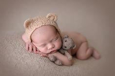 Newborn boy with teddy bear by Wendy Kovac Photography