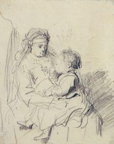 Rembrandt van Rijn, A nurse and an eating child, c. 1635. 16.5 x 13 cm. Albertina, Graphische Sammlung, Vienna.