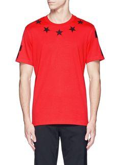 GIVENCHY '74' Print Star Patch T-Shirt. #givenchy #cloth #t-shirt