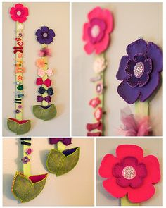 Great way to display and keep all the girls hair clips together. Love the leaf pockets to hold smaller barrettes. Diy Hair Clips Organizer, Hair Clip Storage, Felt Crafts, Diy Crafts, Barrettes, Diy Hair Accessories, Felt Flowers, Diy Hairstyles, Hair Bows