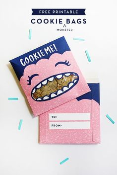 Everyone loves a cookie - give people the gift of one and package 'em in these printable cookie monster bags.:
