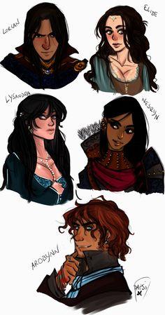 Lorcan, Elide, Lysandra, Nesryn and Arobynn