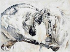 """Élise Genest Art et Chevaux """"Into the light II"""" 36x48"""" disponible - available"""