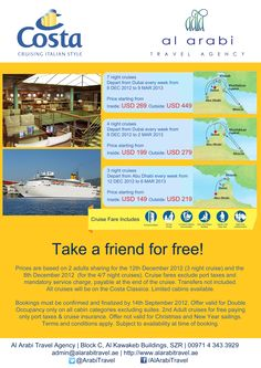 Something really quite special today... Cruises from Dubai, starting at $149 AND you get to take a friend for FREE!