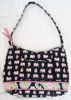 Vera Bradley Pink Elephants Retired Small Hobo Purse Handbag
