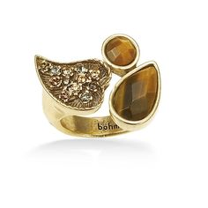 Gold-Tone Metal Tiger Eye Stone And Gold Crystal Ring