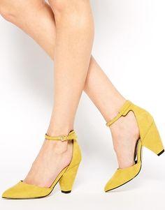 super fun yellow suede heels
