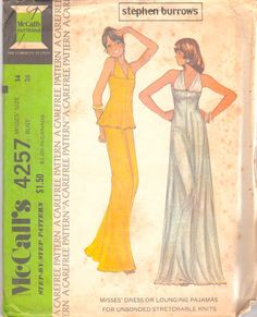 McCalls 4182 1970s Misses Footed Pajamas Pattern Button ...