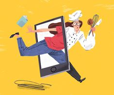 Online Recipes Medium: Graphite, Acrylic, Digital Woman jumping through smart phone. On one side she is wearing urban clothing, on the other she is wearing a chef coat and holding kitchen utensils.