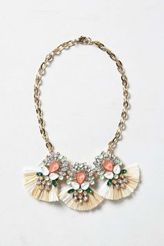 Raffia Peacock Bib | Anthropologie - Because you won't be able to wear just any clothing you want to while #breastfeeding, you'll want to add a little extra excitement to your look with statement jewelry - go crazy with it! I'd pair this with a washed down chambray button front and the Mini Pant from J. Crew in black. #moms #fashion