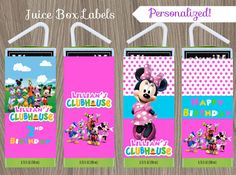 Minnie Mouse Juice Box Labels Minnie Mouse Mickey by CutePixels