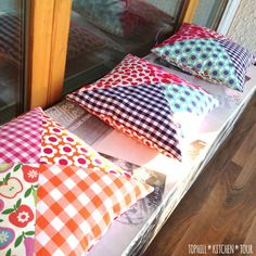 Patchwork pillows. These don't look too hard for a patchwork beginner's project.