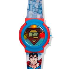Superman Watch with Flashing Lights.  Be a hero! Be able to tell time and fight crime! Avon Living. NEW & NOW! Regularly $9.99.  Shop online with FREE shipping with any $40 online Avon purchase.  #CJTeam #Avon #Style #Kids #AvonKids #BackToSchool #Watch #Superman #New Shop Avon kids online @ www.thecjteam.com.