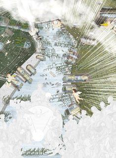 Oasis of Peace is a conceptual Israeli city that promotes peace through water management dezeen Bartlett School Of Architecture, Unique Architecture, Architecture Drawings, Landscape Architecture, Landscape Design, Photomontage, Conceptual Drawing, Water Management, Graduation Project