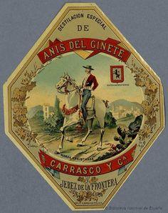Anis del Ginete. Jerez de la Frontera, Cádiz Vintage Labels, Vintage Ephemera, Retro Vintage, Vintage Prints, Vintage Posters, Poster S, Porsche Logo, Pin Up Girls, Packaging Design
