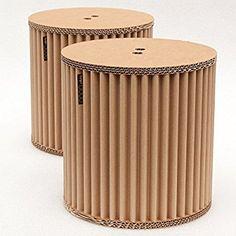 Conjunto de taburetes cArtù: dos pequeños taburetes de almacenamiento robustos perfectos para las habitaciones de los niños, pero también estupendos como mesitas de noche. Realizados en cArtù, un nuevo tipo de cartón corrugado con un diseño elegante y ecológico, vienen preparados para montarse en 3 sencillos pasos. Medidas: 32 cm x 32 cm.: Amazon.es: Hogar